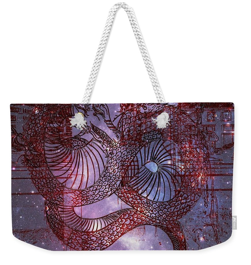 Weekender Tote Bag featuring the photograph Red Dragon 2 by Kelly Awad