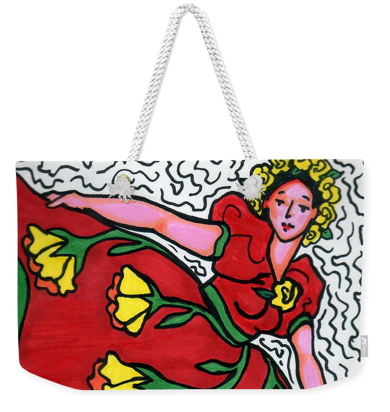 Dancer Weekender Tote Bag featuring the painting Red Dress With Yellow Roses by Monique Montney