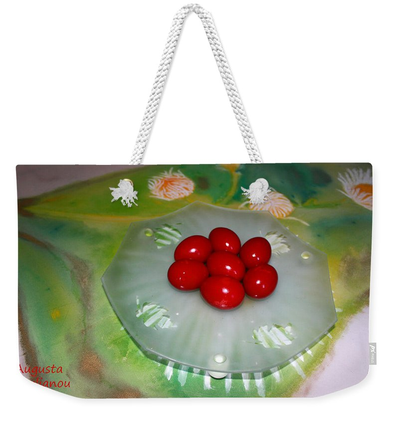 Augusta Stylianou Weekender Tote Bag featuring the photograph Red Eggs And Daisies by Augusta Stylianou
