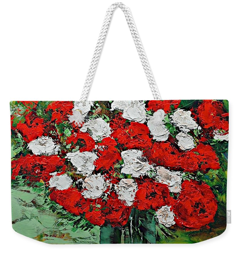 Landscape Weekender Tote Bag featuring the painting Red Explosion by Allan P Friedlander