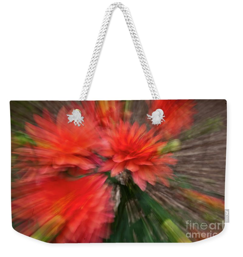 Heiko Weekender Tote Bag featuring the photograph Red Explosion by Heiko Koehrer-Wagner