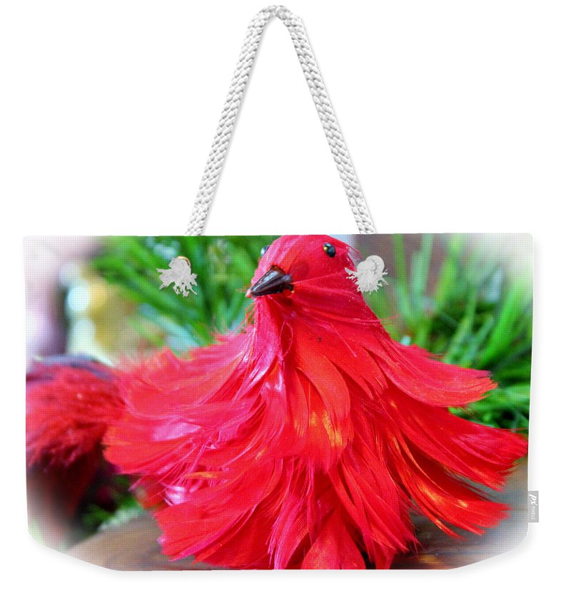 Bird Weekender Tote Bag featuring the photograph Red Feathers by Cynthia Guinn