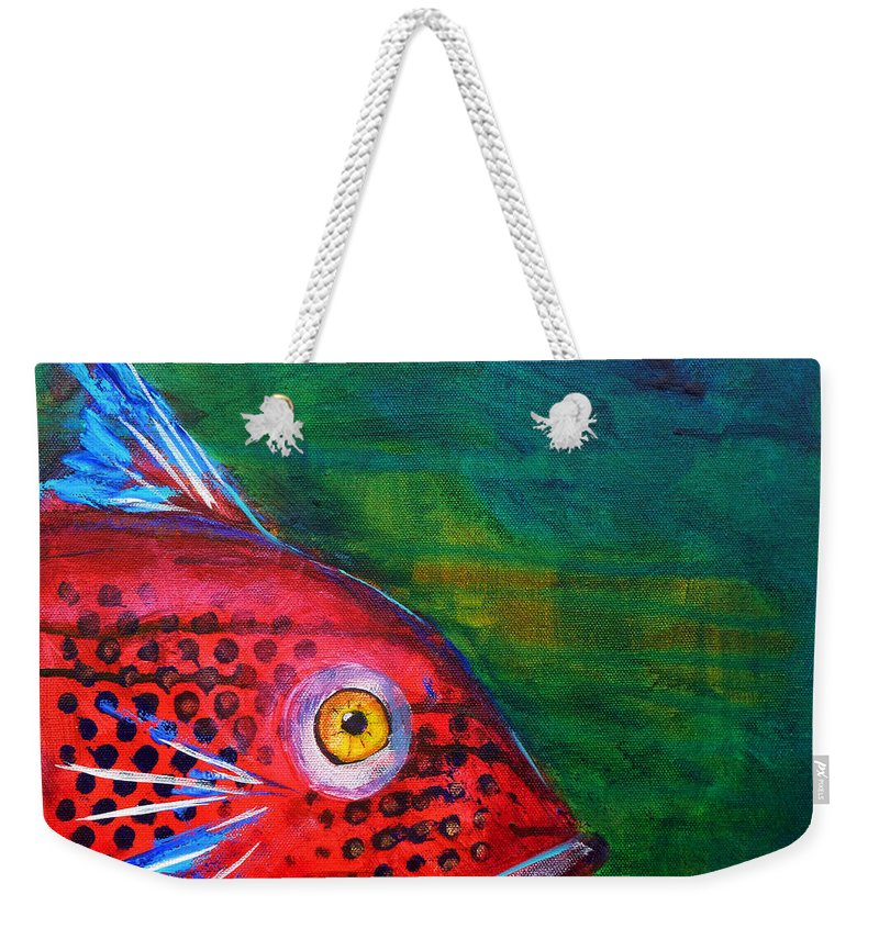 Abstract Weekender Tote Bag featuring the painting Red Fish by Nancy Merkle