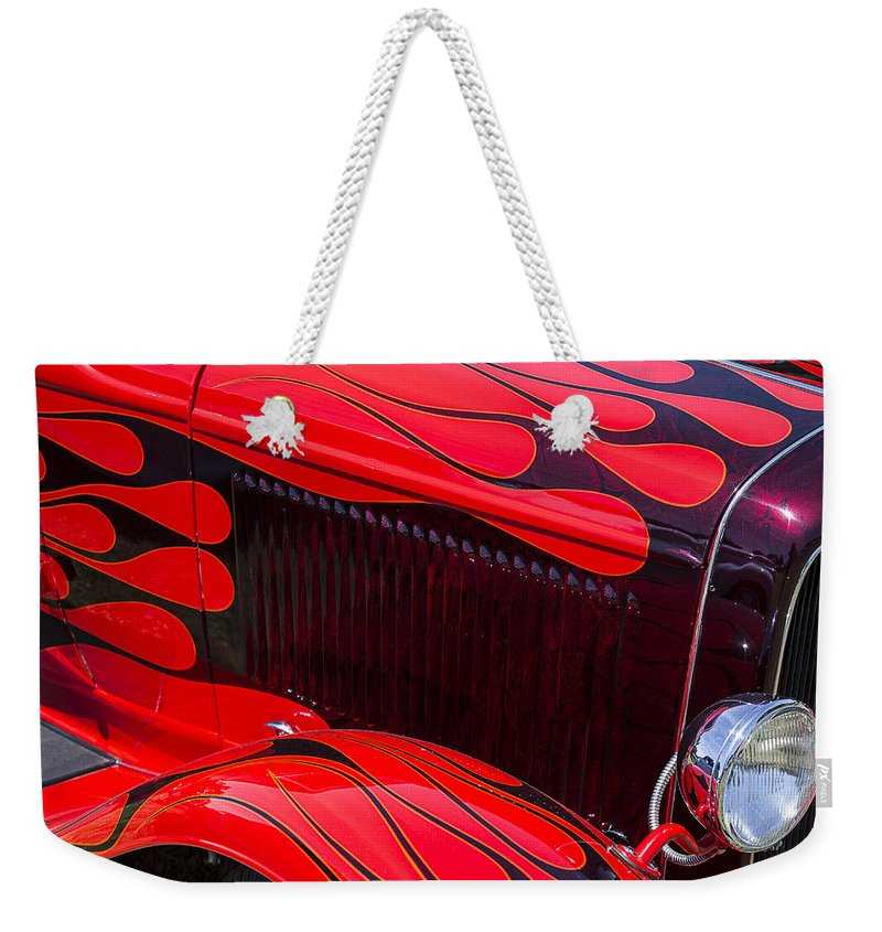 Red Car Weekender Tote Bag featuring the photograph Red Flames Hot Rod by Garry Gay