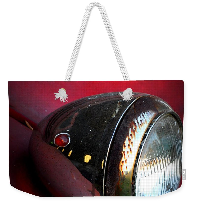 Ford Truck Weekender Tote Bag featuring the photograph Red Ford by Stacy Abbott