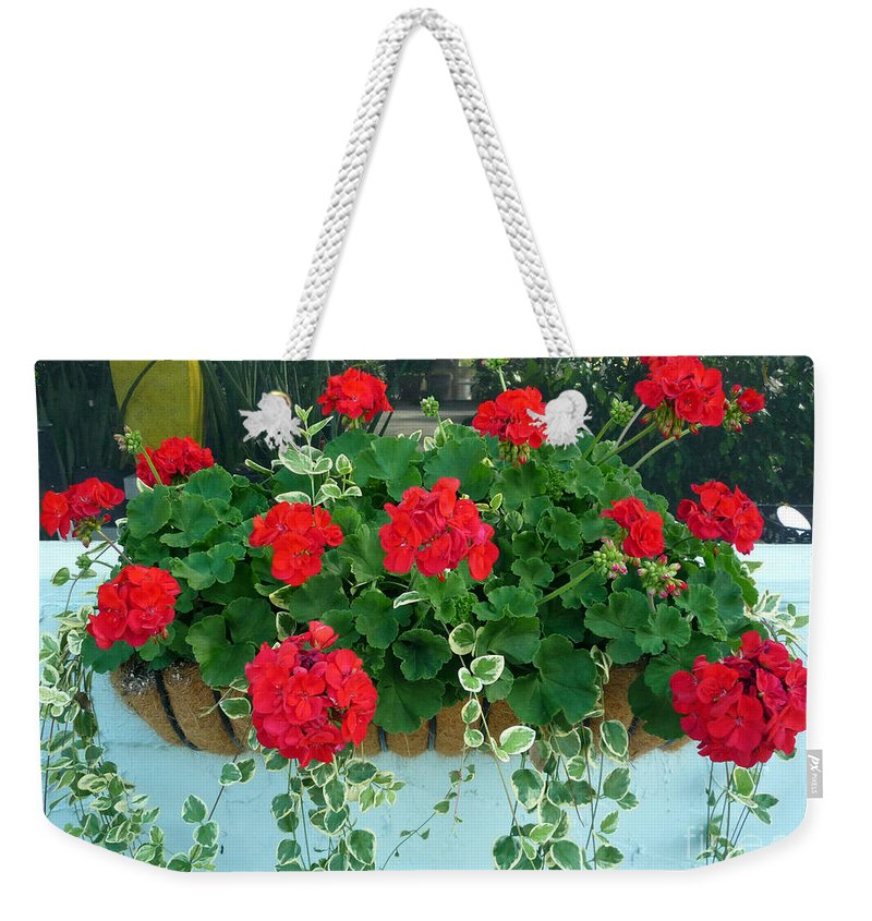 Red Geranium Weekender Tote Bag featuring the photograph Red Geranium 1 by To-Tam Gerwe
