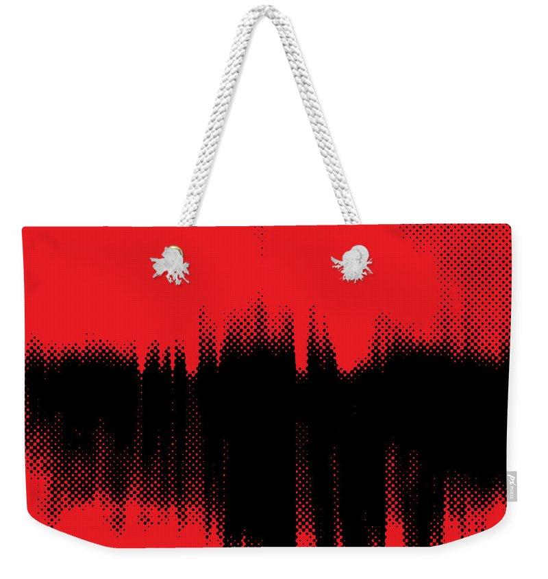 Red Weekender Tote Bag featuring the digital art Red Halftone 2 by Linda Hoey