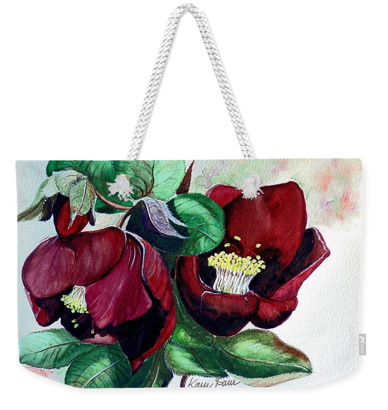 Red Helleborous Painting Flower Painting  Botanical Painting Watercolor Painting Original Painting Floral Painting Flower Painting Red Painting  Greeting Painting Weekender Tote Bag featuring the painting Red Helleborous by Karin Dawn Kelshall- Best