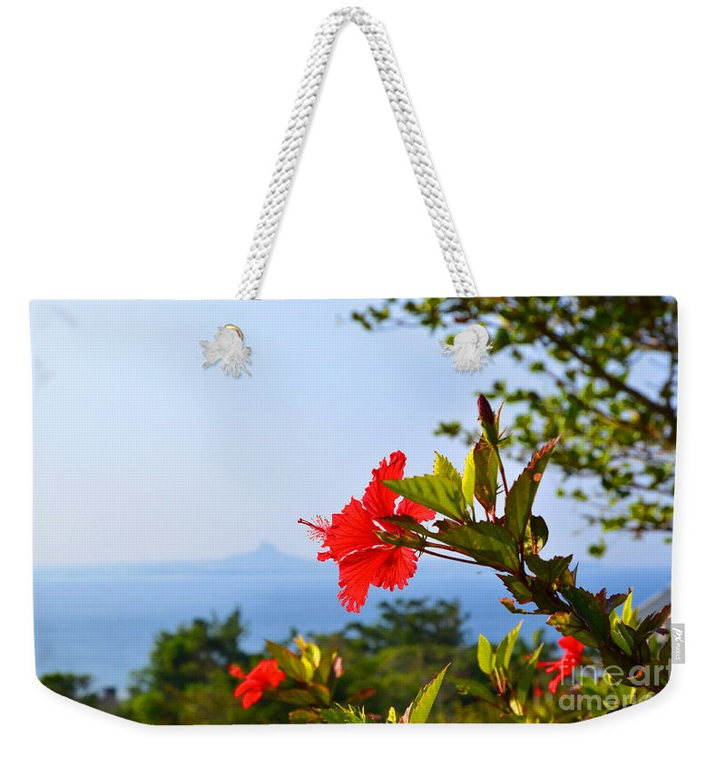 Asia Weekender Tote Bag featuring the photograph Red Hibiscus Flower by Kennerth and Birgitta Kullman