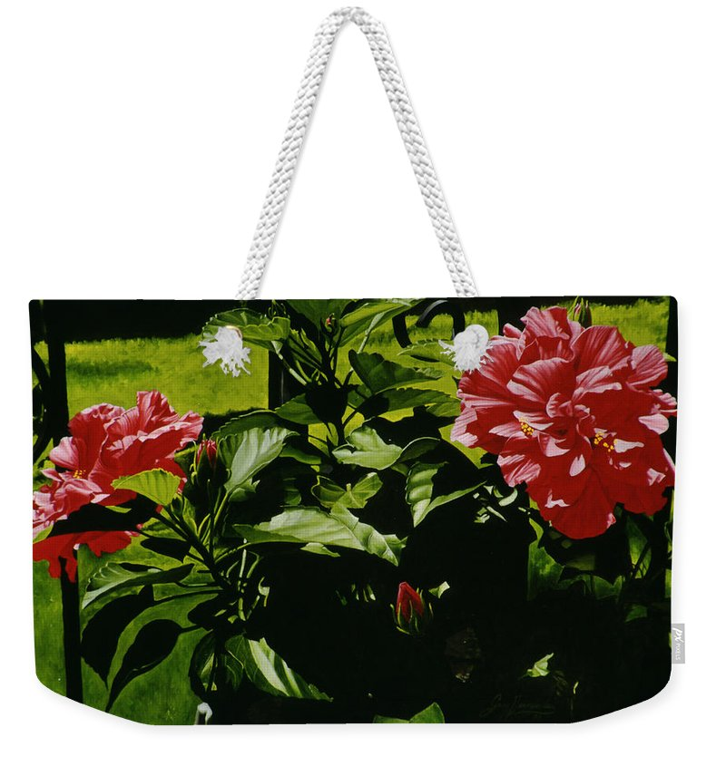 Floral Weekender Tote Bag featuring the painting Red Hibiscus by Gary Hernandez