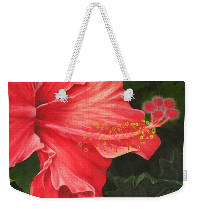 Red Flowers Weekender Tote Bag featuring the painting Red Hibiscus by Mary Deal