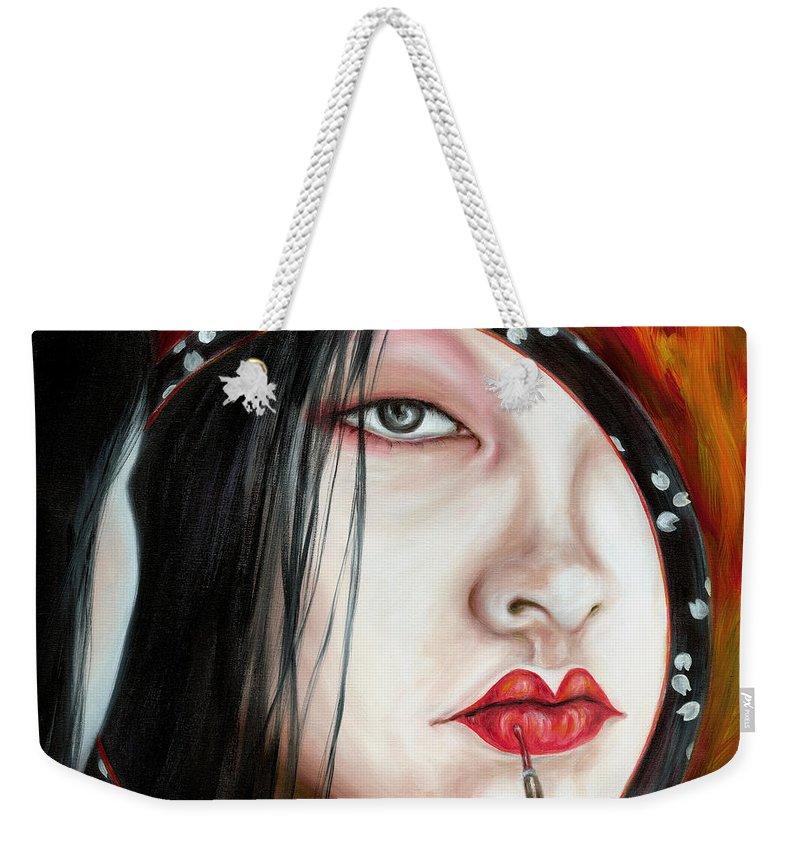 Japanese Woman Weekender Tote Bag featuring the painting Red by Hiroko Sakai