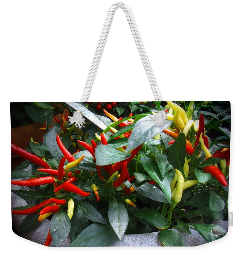 Peppers Weekender Tote Bag featuring the photograph Red Hot Chili Peppers by CK Caldwell