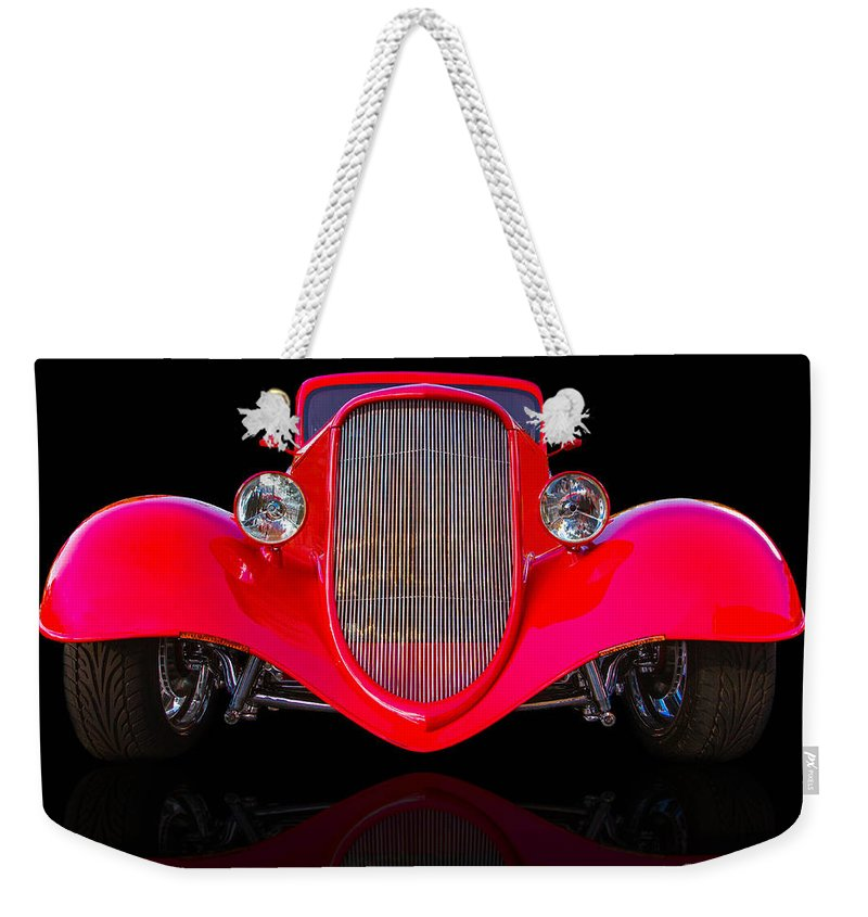 Custom Weekender Tote Bag featuring the photograph Red Hot Rod by Jerry Fornarotto