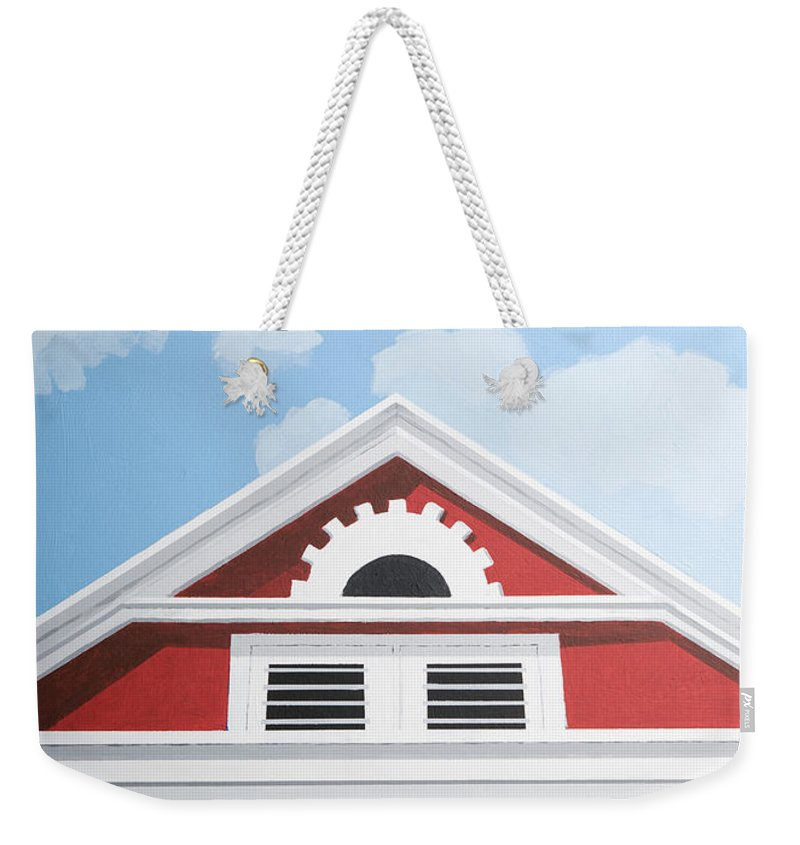 Red House Caribbean Curacao Aruba Antilles Architecture Sun Art Weekender Tote Bag featuring the painting Red House by Trudie Canwood