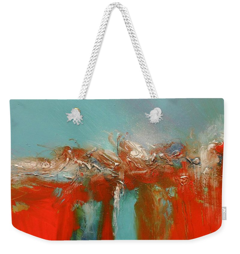 Red Weekender Tote Bag featuring the painting Red Landing by Skye Taylor