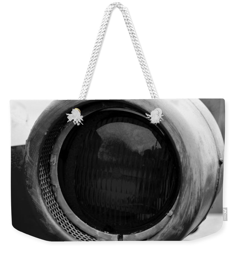 Emergency Weekender Tote Bag featuring the photograph Red Light Bw by Pablo Rosales