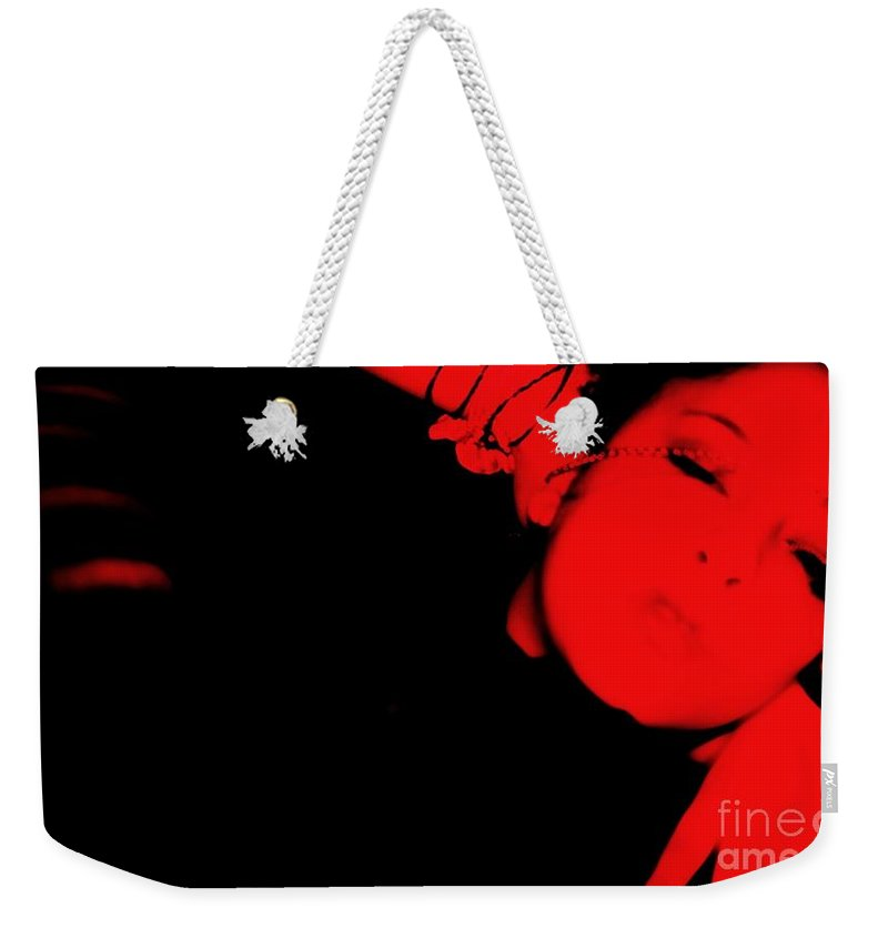 Red Weekender Tote Bag featuring the photograph Red Light Special by Jessica Shelton