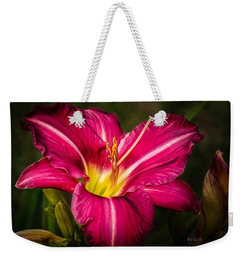 Flower Weekender Tote Bag featuring the photograph Red Magic Daylily by Bob Orsillo