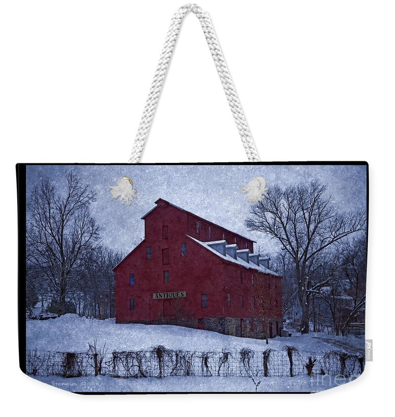 Barn Weekender Tote Bag featuring the photograph Red Mill Antique Barn by John Stephens