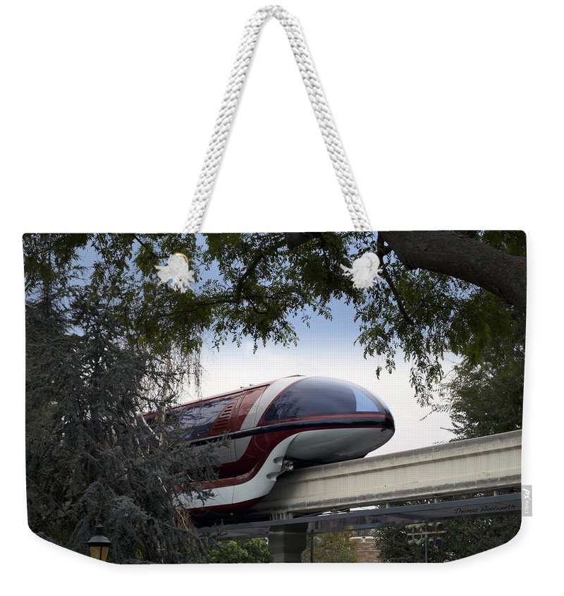 Rail Weekender Tote Bag featuring the photograph Red Monorail Disneyland 01 by Thomas Woolworth