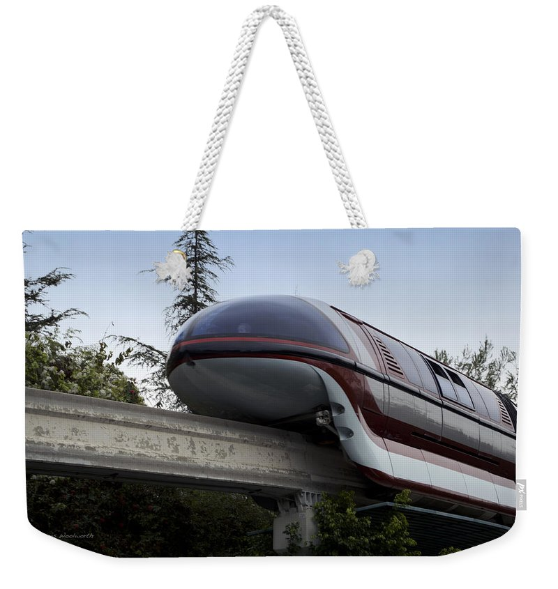 Rail Weekender Tote Bag featuring the photograph Red Monorail Disneyland 02 by Thomas Woolworth