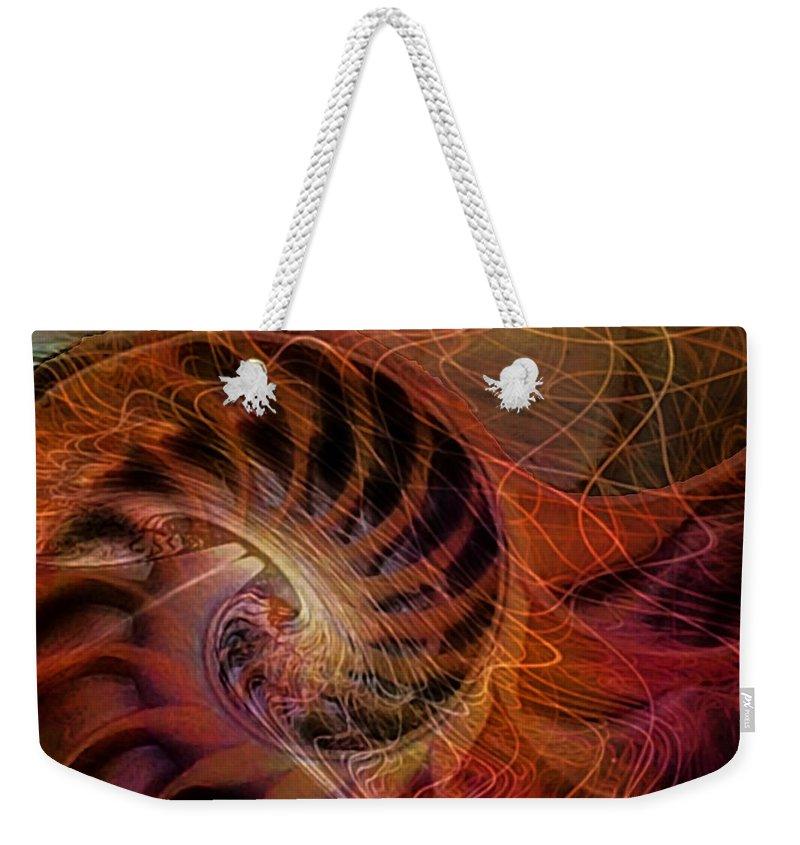 Nautilus Weekender Tote Bag featuring the digital art Red Nautilus by Barbara Berney