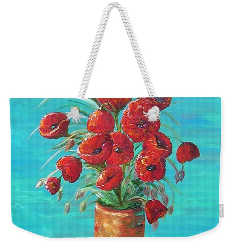 Poppy Weekender Tote Bag featuring the painting Red On My Table by Eloise Schneider Mote