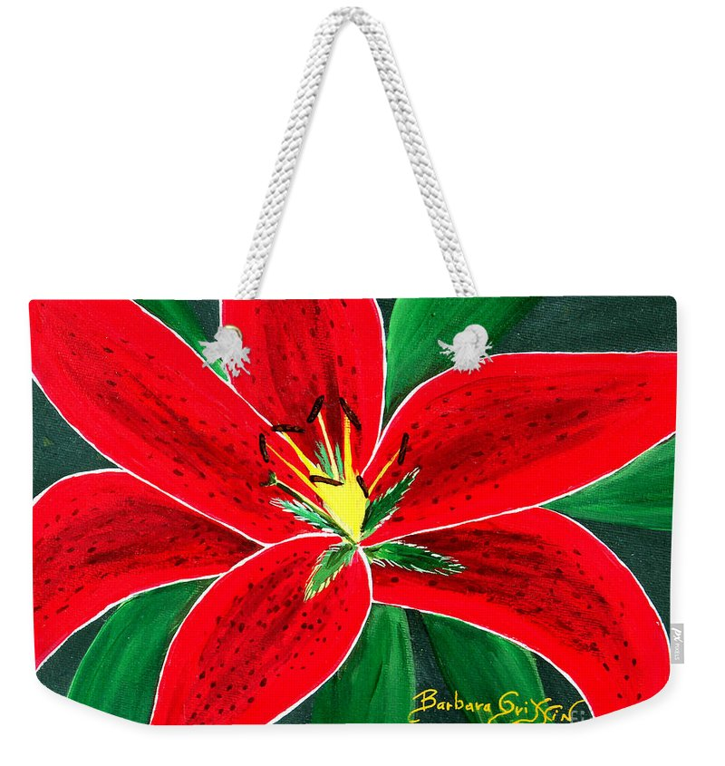 Barbara Griffin Weekender Tote Bag featuring the painting Red Oriental Daylily by Barbara Griffin