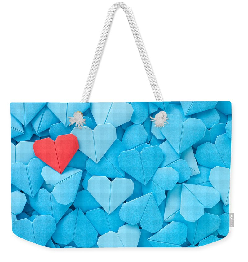 Art Weekender Tote Bag featuring the photograph Red Paper Heart by Fotografiabasica