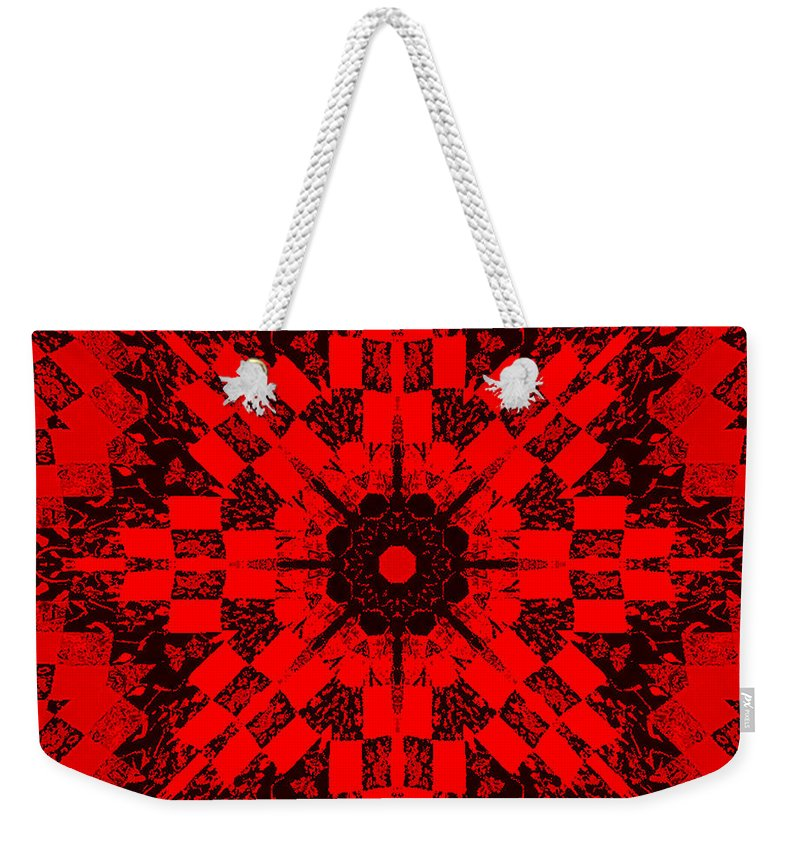 Red Patchwork Art Weekender Tote Bag featuring the photograph Red Patchwork Art by Barbara Griffin