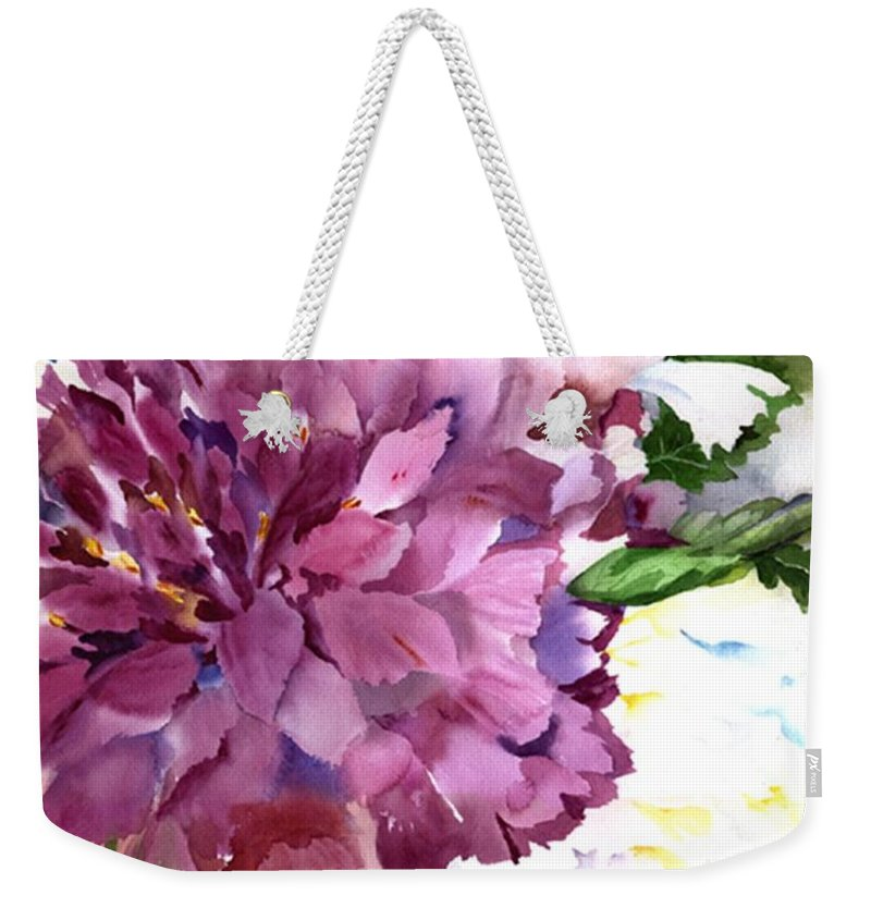Peony Weekender Tote Bag featuring the painting Red Peony by Neela Pushparaj
