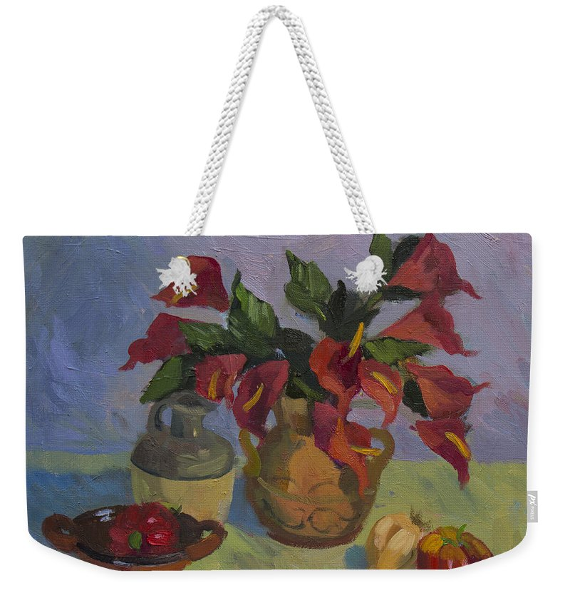 Still Life Weekender Tote Bag featuring the painting Red Pepper by Diane McClary