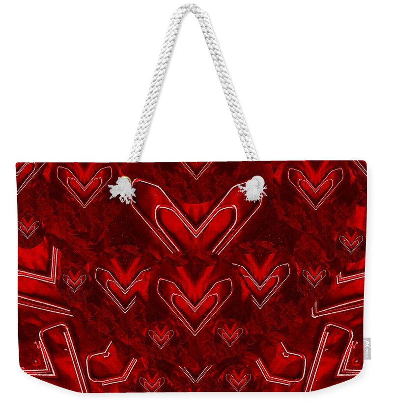 Hearts Weekender Tote Bag featuring the mixed media Red Pop Art Hearts by Pepita Selles