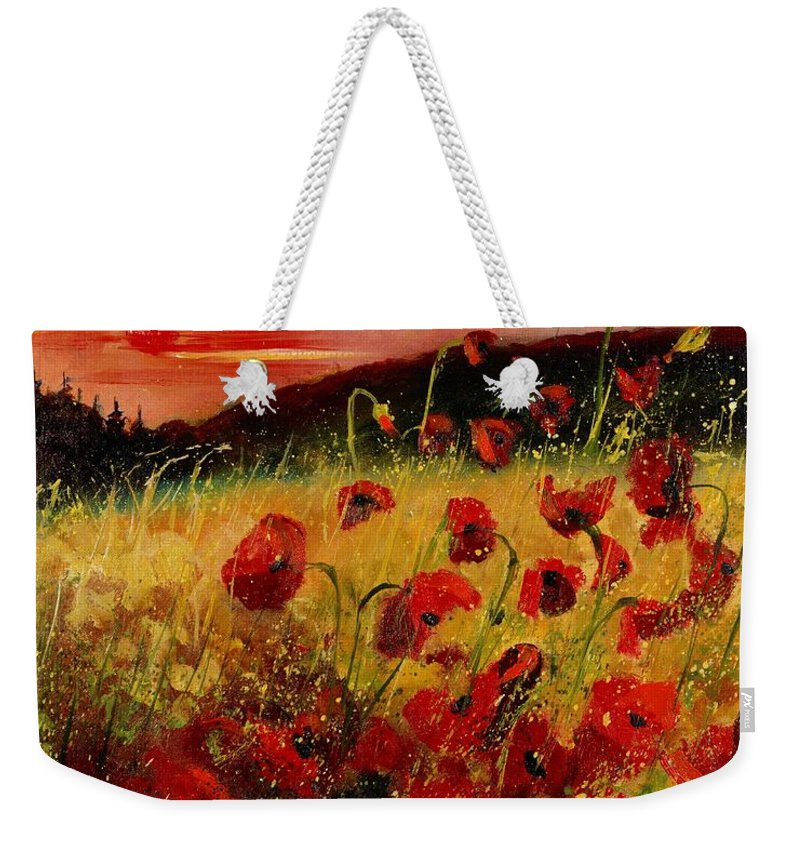 Poppies Weekender Tote Bag featuring the painting Red Poppies And Sunset by Pol Ledent