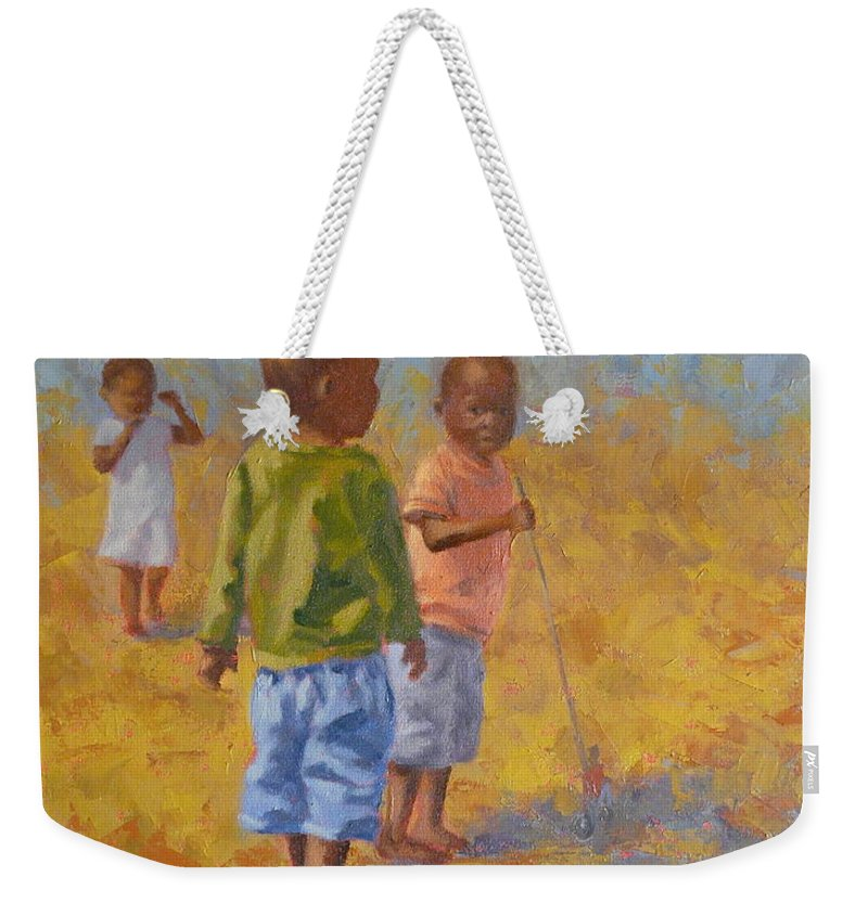 Figures Weekender Tote Bag featuring the painting Red Push Toy by Yvonne Ankerman