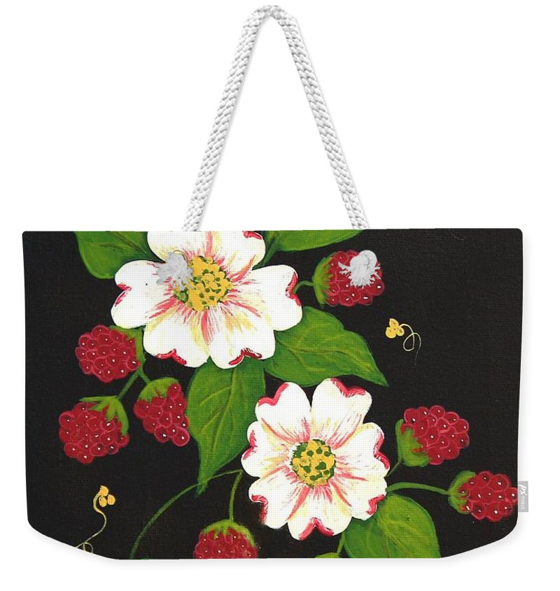 Barbara Griffin Weekender Tote Bag featuring the painting Red Raspberries And Dogwood Flowers by Barbara Griffin