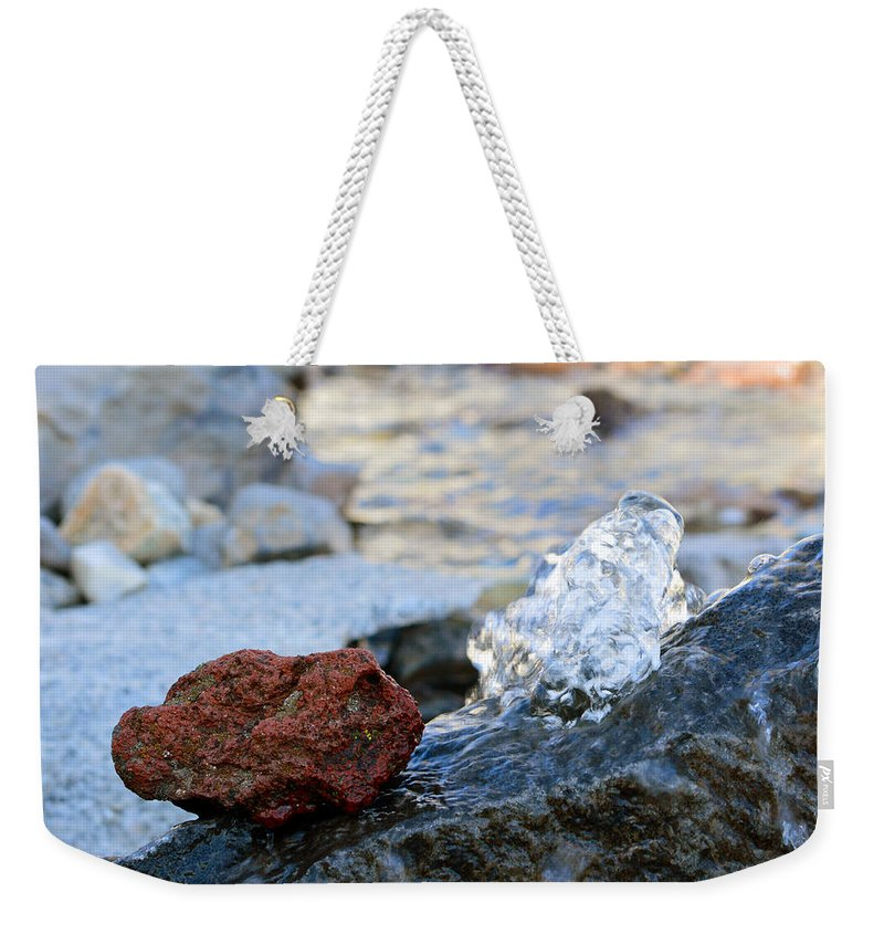 Water Weekender Tote Bag featuring the photograph Red Rock And Crystal Water by Brent Dolliver