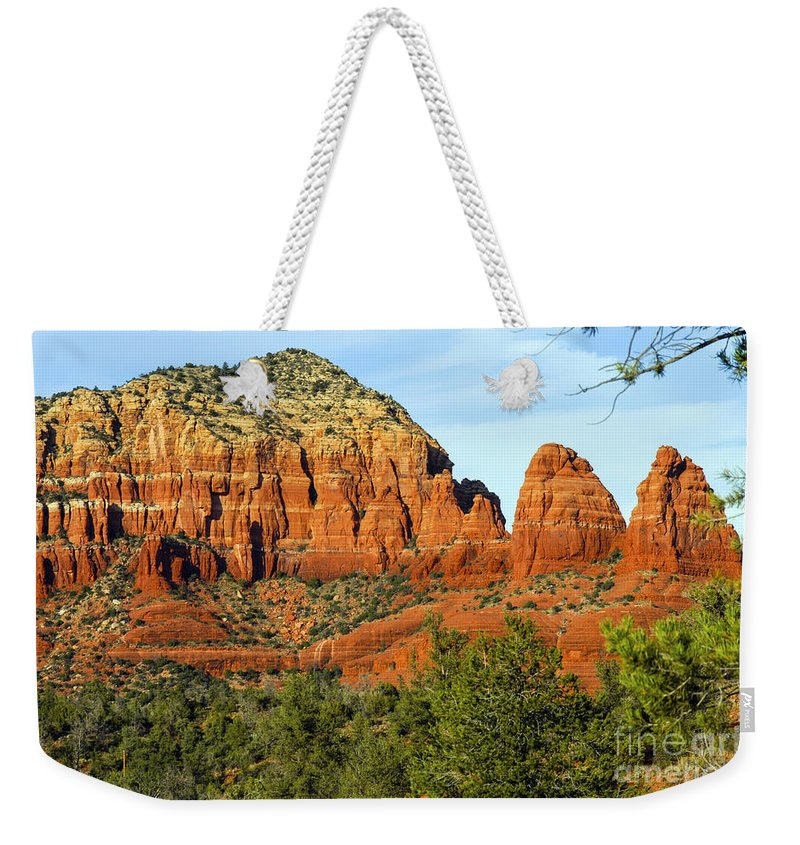Sedona Arizona Butte Buttes Two Nuns Formations Formations Rocks Mountain Mountains Trees Tree Landscape Landscapes Weekender Tote Bag featuring the photograph Red Rock Butte by Bob Phillips