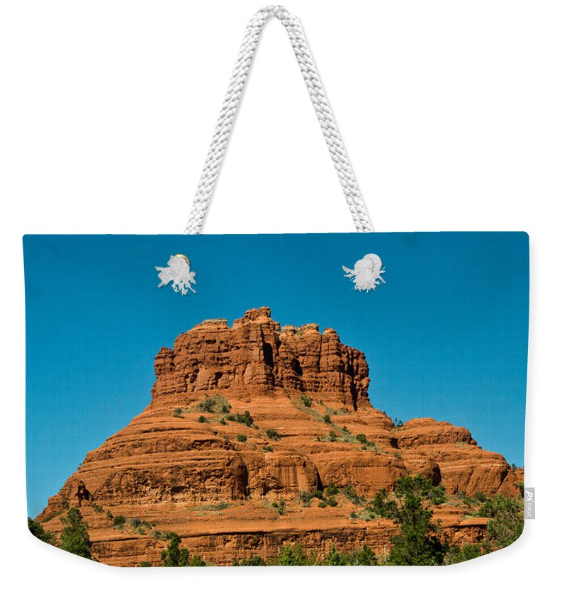 Red Weekender Tote Bag featuring the photograph Red Rock Formation Sedona Arizona 21 by Douglas Barnett