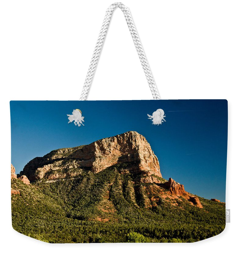 Red Weekender Tote Bag featuring the photograph Red Rock Formation Sedona Arizona 30 by Douglas Barnett