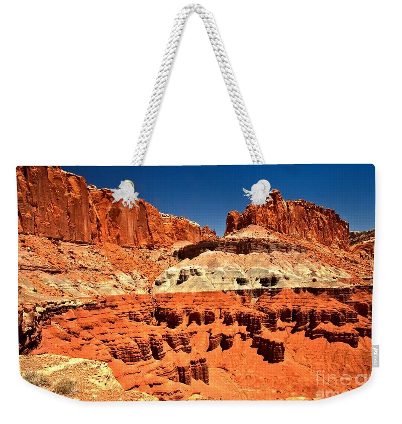 Capitol Reef National Park Weekender Tote Bag featuring the photograph Red Rock Ridges by Adam Jewell