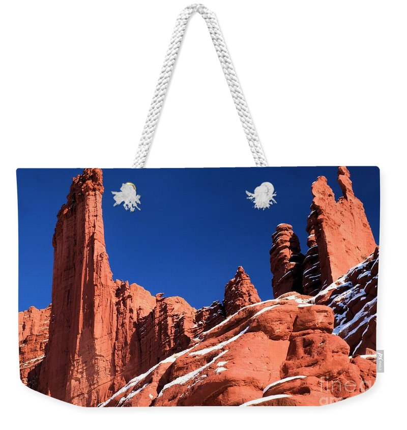 Fisher Towers Weekender Tote Bag featuring the photograph Red Rock Towers by Adam Jewell