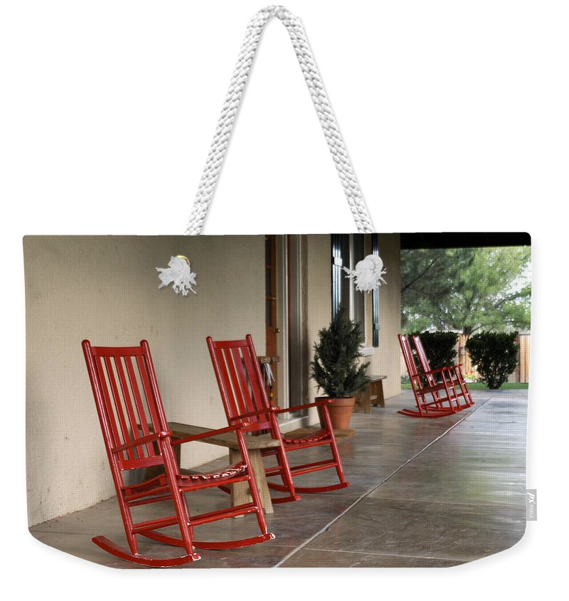 Red Weekender Tote Bag featuring the photograph Red Rockers 21159 by Jerry Sodorff