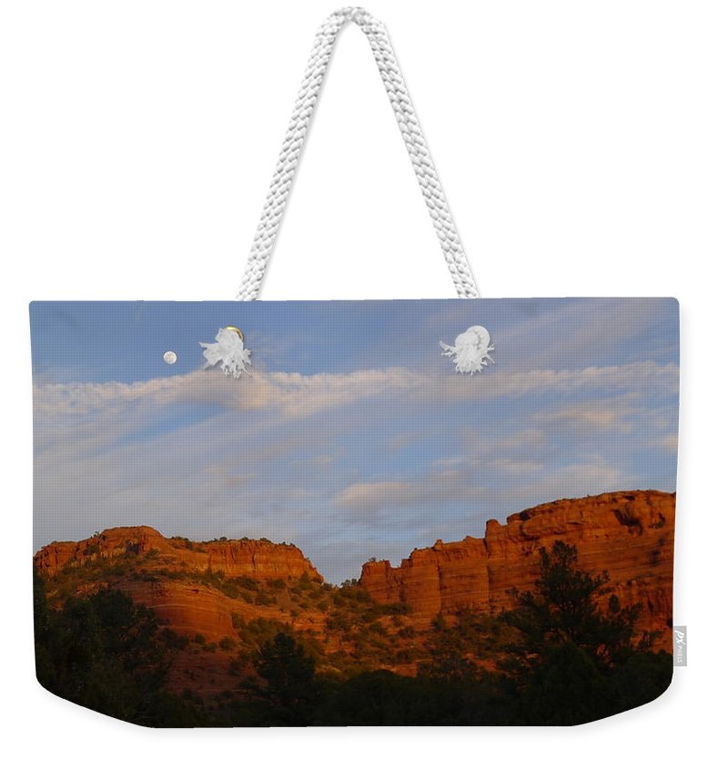 Moon Weekender Tote Bag featuring the photograph Red Rocks In Sedona by Denise Mazzocco