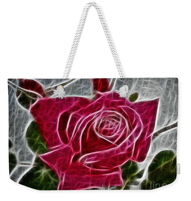 Red Rose Expressive Brushstrokes Weekender Tote Bag featuring the photograph Red Rose Expressive Brushstrokes by Barbara Griffin