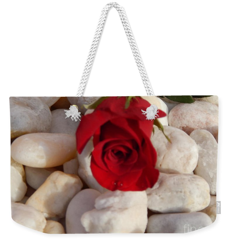 Red Rose Weekender Tote Bag featuring the photograph Red Rose On River Rocks by To-Tam Gerwe