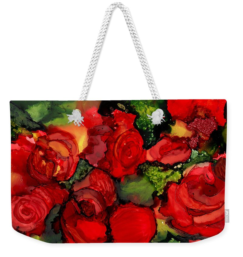 Roses Weekender Tote Bag featuring the painting Red Roses by Elaine Hodges