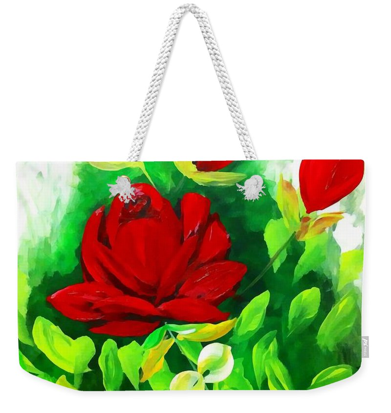 Red Weekender Tote Bag featuring the painting Red Roses From The Garden Impression by Saundra Myles