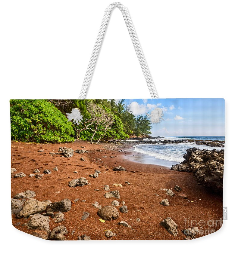 Red Sand Beach Weekender Tote Bag featuring the photograph Red Sand Seclusion - The Exotic And Stunning Red Sand Beach On Maui by Jamie Pham